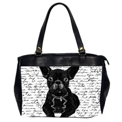 Cute Bulldog Office Handbags (2 Sides)  by Valentinaart