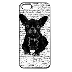 Cute Bulldog Apple Iphone 5 Seamless Case (black) by Valentinaart