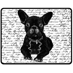 Cute Bulldog Double Sided Fleece Blanket (medium)  by Valentinaart