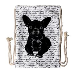 Cute Bulldog Drawstring Bag (large) by Valentinaart