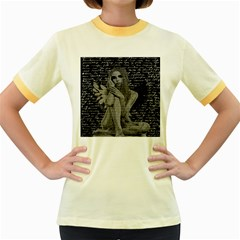 Angel Women s Fitted Ringer T Shirts by Valentinaart