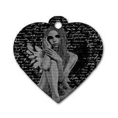 Angel Dog Tag Heart (two Sides) by Valentinaart
