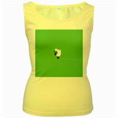 Sheep Trails Curly Minimalism Women s Yellow Tank Top