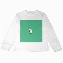 Sheep Trails Curly Minimalism Kids Long Sleeve T Shirts by Simbadda
