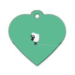Sheep Trails Curly Minimalism Dog Tag Heart (one Side) by Simbadda