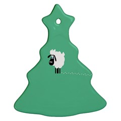 Sheep Trails Curly Minimalism Christmas Tree Ornament (two Sides) by Simbadda