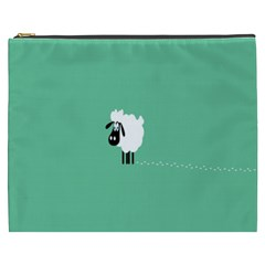 Sheep Trails Curly Minimalism Cosmetic Bag (xxxl)  by Simbadda