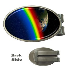 Rainbow Earth Outer Space Fantasy Carmen Image Money Clips (oval)  by Simbadda