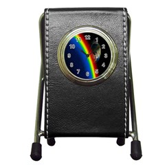 Rainbow Earth Outer Space Fantasy Carmen Image Pen Holder Desk Clocks by Simbadda