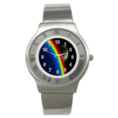 Rainbow Earth Outer Space Fantasy Carmen Image Stainless Steel Watch by Simbadda