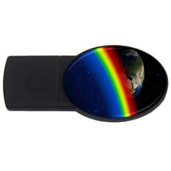 Rainbow Earth Outer Space Fantasy Carmen Image Usb Flash Drive Oval (4 Gb) by Simbadda