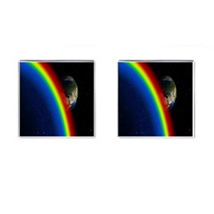 Rainbow Earth Outer Space Fantasy Carmen Image Cufflinks (square) by Simbadda