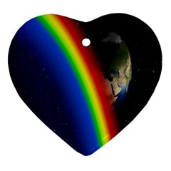 Rainbow Earth Outer Space Fantasy Carmen Image Heart Ornament (two Sides) by Simbadda
