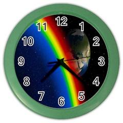 Rainbow Earth Outer Space Fantasy Carmen Image Color Wall Clocks by Simbadda