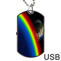 Rainbow Earth Outer Space Fantasy Carmen Image Dog Tag Usb Flash (one Side) by Simbadda