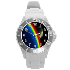 Rainbow Earth Outer Space Fantasy Carmen Image Round Plastic Sport Watch (l) by Simbadda
