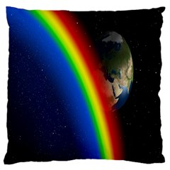 Rainbow Earth Outer Space Fantasy Carmen Image Large Cushion Case (two Sides) by Simbadda