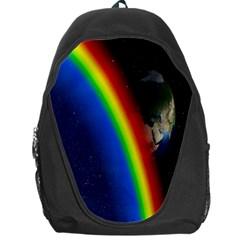 Rainbow Earth Outer Space Fantasy Carmen Image Backpack Bag by Simbadda