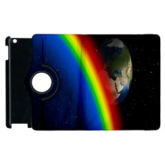 Rainbow Earth Outer Space Fantasy Carmen Image Apple Ipad 3/4 Flip 360 Case by Simbadda