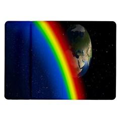Rainbow Earth Outer Space Fantasy Carmen Image Samsung Galaxy Tab 10 1  P7500 Flip Case by Simbadda
