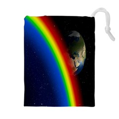 Rainbow Earth Outer Space Fantasy Carmen Image Drawstring Pouches (extra Large)