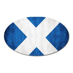 Scotland Flag Surface Texture Color Symbolism Oval Magnet by Simbadda