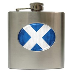 Scotland Flag Surface Texture Color Symbolism Hip Flask (6 Oz) by Simbadda