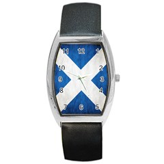 Scotland Flag Surface Texture Color Symbolism Barrel Style Metal Watch by Simbadda