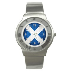 Scotland Flag Surface Texture Color Symbolism Stainless Steel Watch by Simbadda