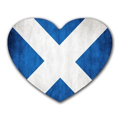 Scotland Flag Surface Texture Color Symbolism Heart Mousepads by Simbadda