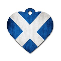 Scotland Flag Surface Texture Color Symbolism Dog Tag Heart (one Side) by Simbadda