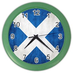 Scotland Flag Surface Texture Color Symbolism Color Wall Clocks by Simbadda