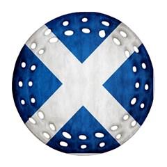 Scotland Flag Surface Texture Color Symbolism Ornament (round Filigree) by Simbadda