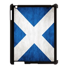 Scotland Flag Surface Texture Color Symbolism Apple Ipad 3/4 Case (black) by Simbadda