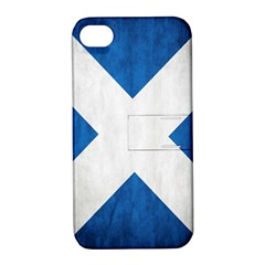 Scotland Flag Surface Texture Color Symbolism Apple Iphone 4/4s Hardshell Case With Stand by Simbadda