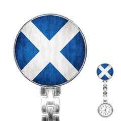 Scotland Flag Surface Texture Color Symbolism Stainless Steel Nurses Watch by Simbadda