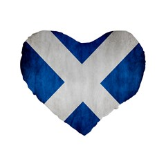 Scotland Flag Surface Texture Color Symbolism Standard 16  Premium Flano Heart Shape Cushions by Simbadda