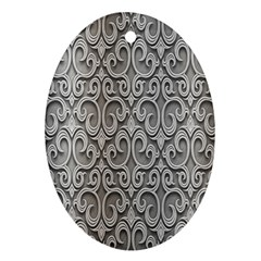 Patterns Wavy Background Texture Metal Silver Ornament (oval) by Simbadda