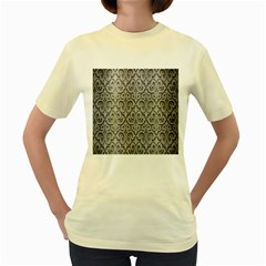 Patterns Wavy Background Texture Metal Silver Women s Yellow T Shirt by Simbadda