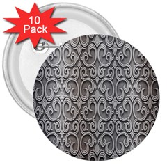Patterns Wavy Background Texture Metal Silver 3  Buttons (10 Pack)  by Simbadda