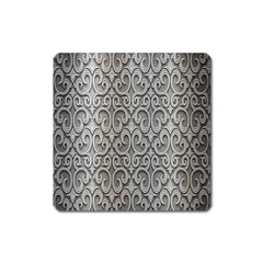 Patterns Wavy Background Texture Metal Silver Square Magnet by Simbadda