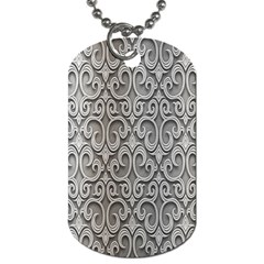 Patterns Wavy Background Texture Metal Silver Dog Tag (one Side) by Simbadda
