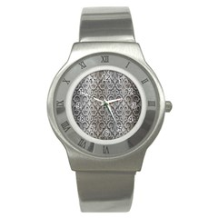 Patterns Wavy Background Texture Metal Silver Stainless Steel Watch by Simbadda