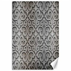 Patterns Wavy Background Texture Metal Silver Canvas 12  X 18   by Simbadda