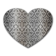Patterns Wavy Background Texture Metal Silver Heart Mousepads by Simbadda