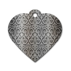 Patterns Wavy Background Texture Metal Silver Dog Tag Heart (two Sides) by Simbadda
