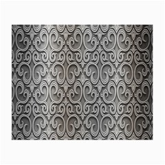 Patterns Wavy Background Texture Metal Silver Small Glasses Cloth (2 Side) by Simbadda