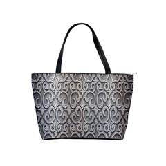 Patterns Wavy Background Texture Metal Silver Shoulder Handbags by Simbadda