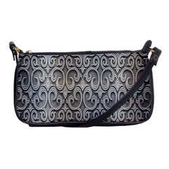 Patterns Wavy Background Texture Metal Silver Shoulder Clutch Bags by Simbadda