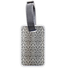 Patterns Wavy Background Texture Metal Silver Luggage Tags (two Sides) by Simbadda